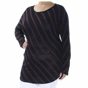 INC XL Port Purple Black Stripe Tunic Top NWT AL38